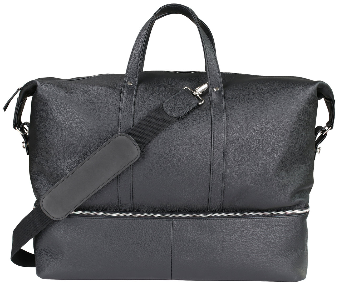 Oberwerth Weekender Nelson L (black leather / Lining & insert red)
